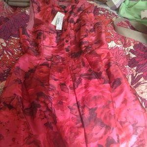 Silk J. Crew rose motif pink dress NWT